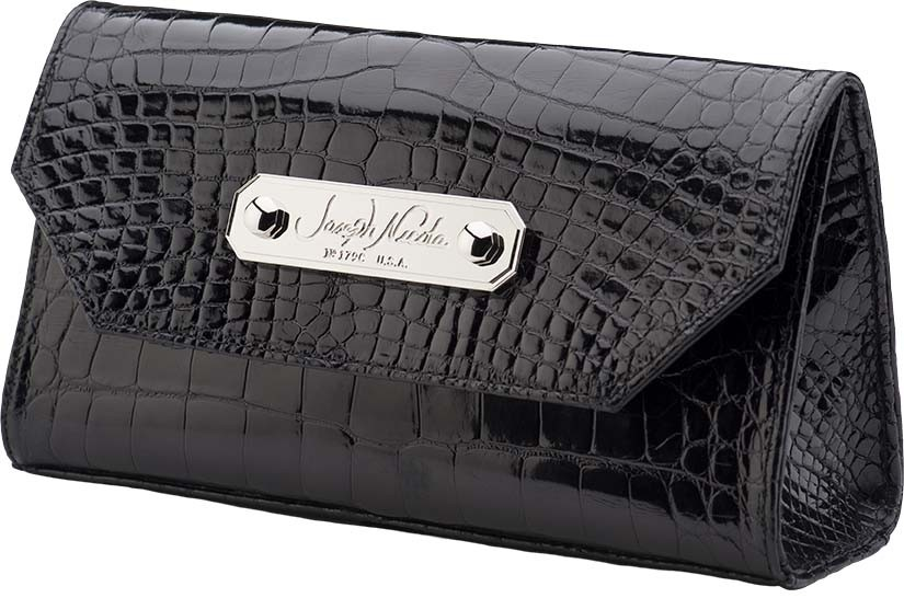 California Clutch Glazed Black Alligator