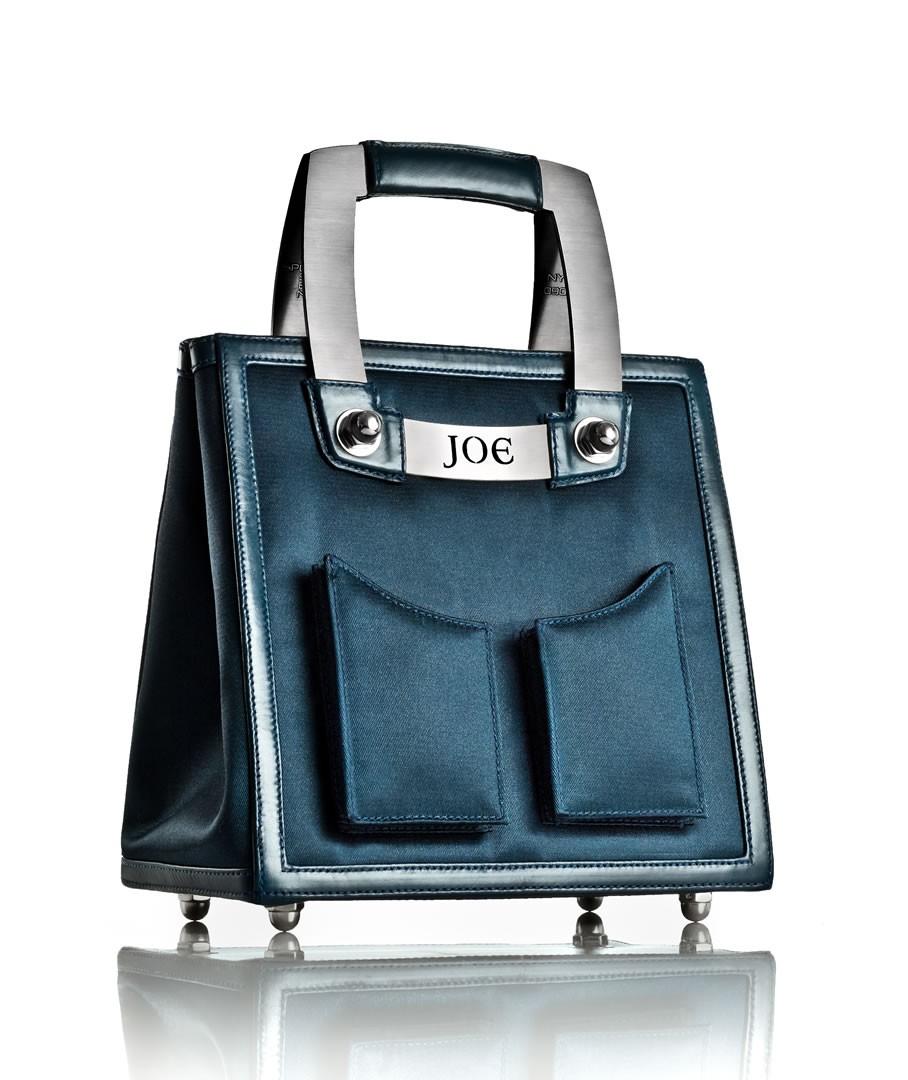 Medium Midnight Navy Nylon Handbag w/ Brushed Stainless Steel Hardware