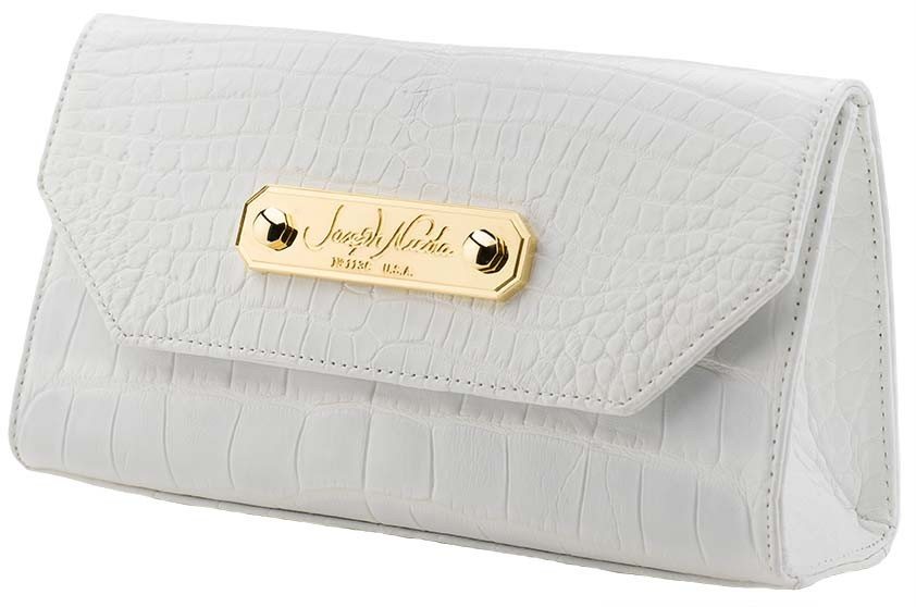 California Clutch Matte White Alligator
