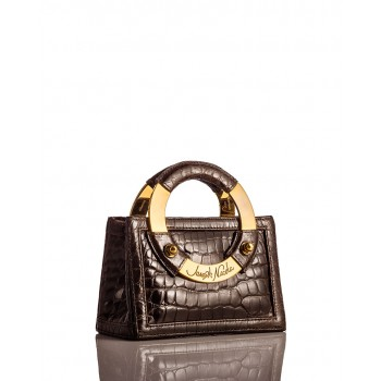Mini Brown Glazed American Alligator Handbag