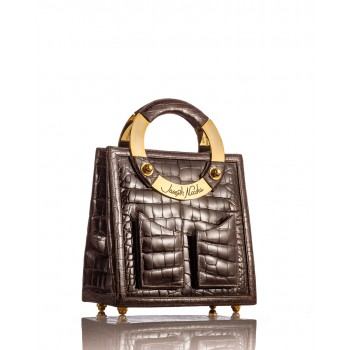 Medium Brown Glazed American Alligator Handbag
