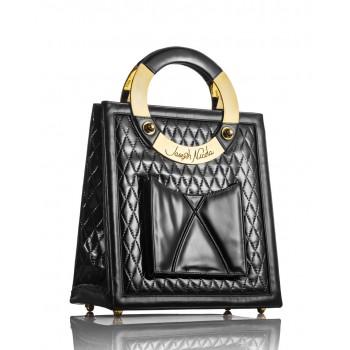 Mega Black Quilted Patent Leather Handbag
