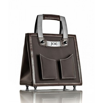 Medium Smoke Grey Nylon Handbag w/ Brushed Stainless Steel Hardware