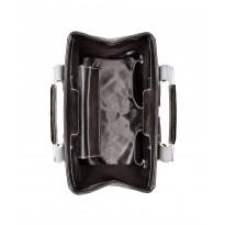 Medium Smoke Grey Nylon Handbag w/ Polished Stainless Steel Hardware