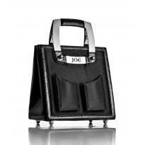 Medium Black Onyx Nylon Handbag w/ Polished Stainless Steel Hardware