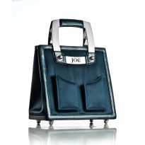 Medium Midnight Navy Nylon Handbag w/ Polished Stainless Steel Hardware