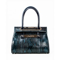 Lola Large Navy Python w/ Polished Nickel Hardware