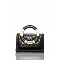 Mini Black Quilted Patent Leather Handbag
