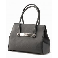 Lola Large Just Black Tote w/ Polished Nickel Hardware