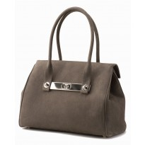 Lola Large Charcoal Tote w/ Polished Nickel Hardware