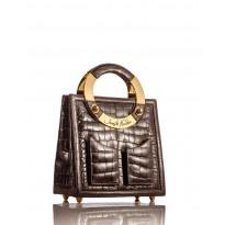 Medium Brown Glazed American Alligator Handbag